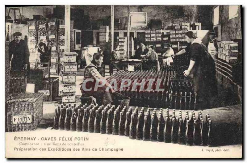 Vintage Postcard Folklore Vine Grape harvest Epernay Cellars