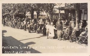 Williamsburg ON Patients in Wheel Chairs Lined Up~Shoe Salesman Dr Locke 1933
