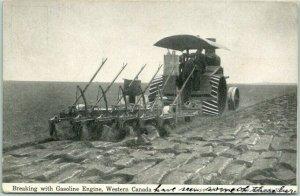 1912 Canada Farming Postcard Breaking with Gasoline Engine, Western Canada