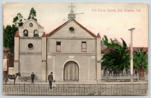Los Angeles CA~Man & Toddler Girl Cross Road to Plaza Church~1906 Handcolored