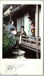 Vintage Japanese Women Greetings Postcard 6957 THE LOVE LETTER 1905 WA Cancel