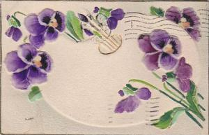 Embossed, Velvet-Finish, Hand-Colored, Purple flowers, PU-1907