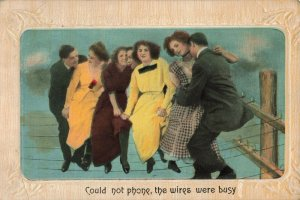 Circa 1911 Could not Phone, the Wires were Busy Embossed Postcard