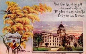 NE - State Flower & Capitol. Goldenrod & Lincoln