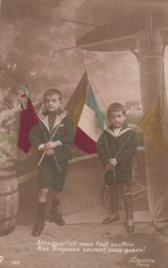 RP: 2 Kids Holding Allied Flags , WWI 1914-18