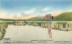 Flagstaff Arizona 1940s Route 66 Hi-Land 66-89 Postcard Smith roadside 3281
