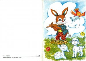 Holidays art drawing Stationery rabbit sheep bird flower Postcard
