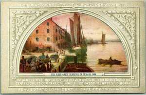 1910s Chicago, IL Postcard CENTRAL TRUST CO. BANK First Grain Elevator Mural