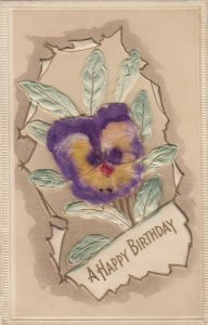 BIRTHDAY, 1900-10s; Embossed, Pansy Flower