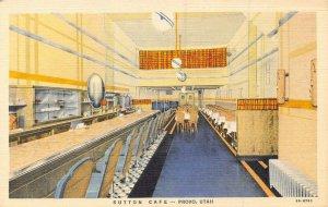 Sutton Cafe Interior Lunch Counter Provo Utah linen postcard