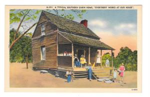 Typical Southern Cabin Home Everybody Works Vintage Linen Postcard NC