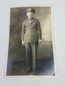 Black and White RPPC U.S. Army World War 2 WWII Serviceman Postcard