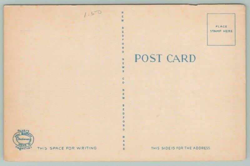 New Bedford Massachusetts~Municipal Building~c1930~Linen Postcard