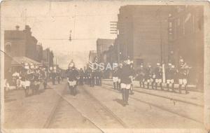 C35/ Interesting Real Photo RPPC Postcard c1910 Patriotic Parade Band Leader