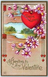 ART DECO Hearts VALENTINE GREETING True Love  Embossed ca 1910s Postcard