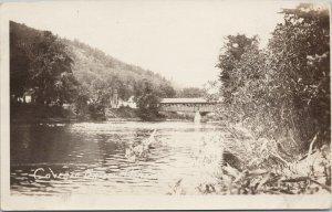Covered Bridge Hiram Maine ME c1922 Real Photo Postcard E63