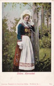 Sweden Skane Harrestad Beautiful Woman In Traditional Costume 1908