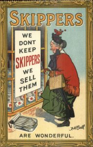 Skippers Sardine Old Woman Shopping JH Ball GREAT ART/COLOR Overprint on Back