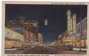 AMARILLO, Texas, 1930-40s; Polk Street Looking North from Ninth at night, Bes...