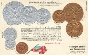 1902 U.S. Gold & Silver Coins Embossed Postcard