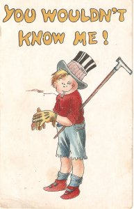 Comic golf player. You wouldn't know me! Humorous vintage American postcard