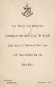 Mayor Of Darlington & Mayoress 1904 Christmas Greetings Antique Postcard Card