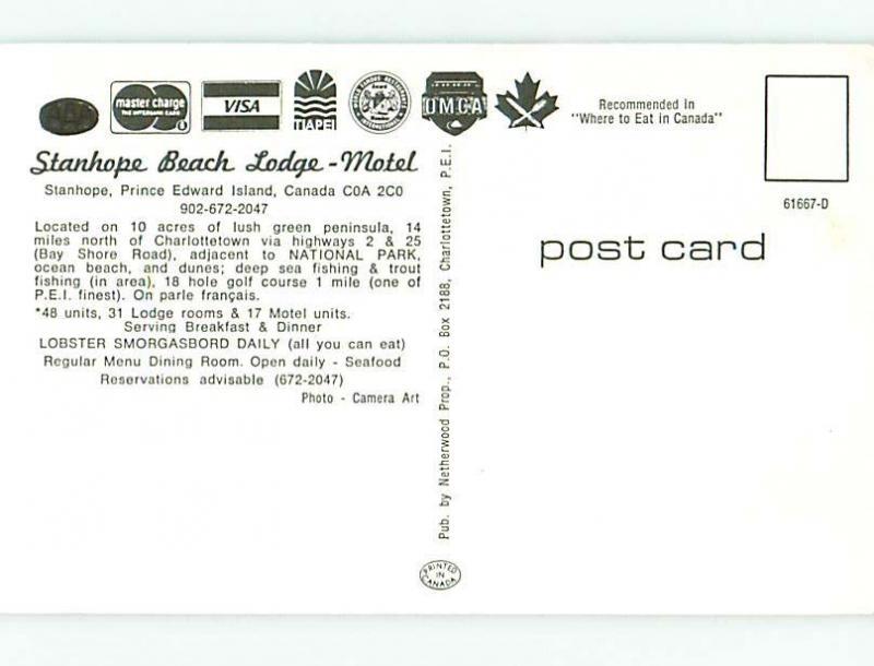 Unused Pre-1980 BEACH LODGE RESTAURANT Prince Edward Island Canada u4400