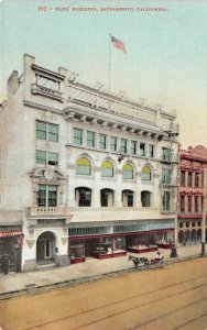 Elks' Building - Sacramento, CA Street Scene c1910s Vintage Postcard