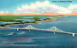 Michigan Straits Of Mackinac Bridge 1958