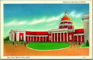 1939 NEW YORK WORLD'S FAIR Postcard Section of the COURT OF STATES Linen A-16