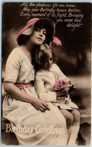 Vintage BIRTHDAY Greetings Postcard Mother & Daughter TUCK'S Series R455 c1910s