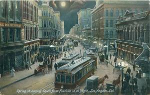 LOS ANGELES CA SPRING ST LOOKING SOUTH FROM FRANKLIN ST AT NIGHT POSTCARD c1906