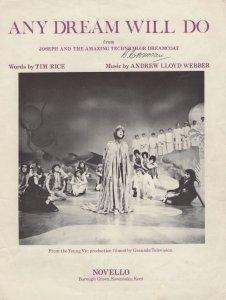 Any Dream Will Do Andrew Llloyd Webber Granada TV Sheet Music