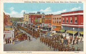 Claremore Oklahoma Military Academy Cadets Parade Antique Postcard J79488