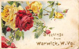Warwick West Virginia~Red Yellow Rose Greetings~Embossed~1909 Postcard