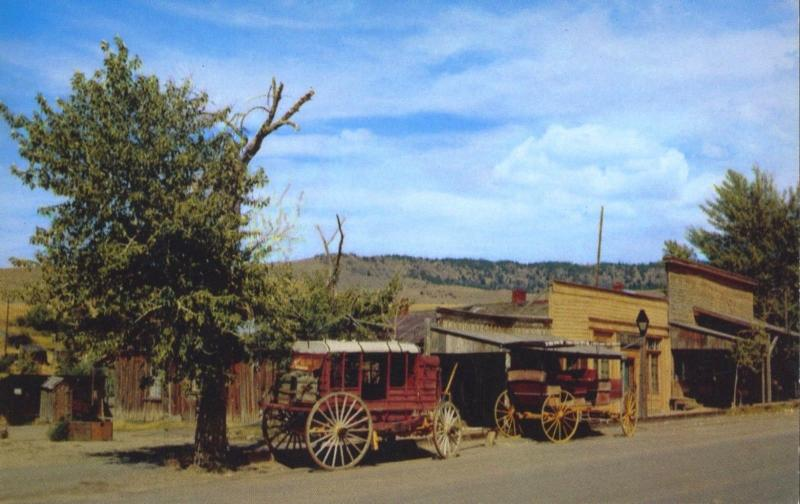 Virginia City Montana MT Early Transportation Wagons Old West Postcard E1
