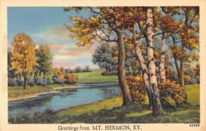 Mt Hermon Kentucky Greetings From scenic view lake or river antique pc Z43821