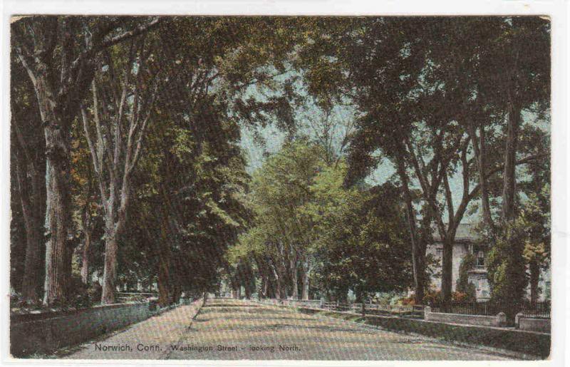 Washington Street Looking North Norwich Connecticut 1909 Anniversary postcard