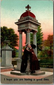 1909 Romance Greetings Postcard Couple Kissing Hope You Are Having a Good Time