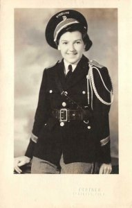 RPPC Sterling, Colorado Woman In Military Uniform ca 1940s Vintage Postcard