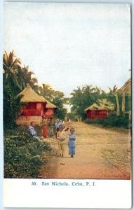 Philippine Islands  SAN NICHOLA, CEBU   Street Scene   ca 1910s  Postcard