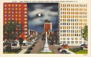 COLUMBIA, SC Main Street Scene Night View ca 1940s Vintage Linen Postcard