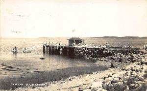 Bayside ME Wharf People Waiting for The Ship RPPC Real Photo Postcard