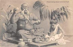 India Priest Taking Dinner with his Pupil
