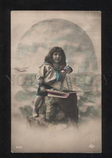058047 Young Girl as SHIP-BOY w/ TOY vintage tinted PHOTO
