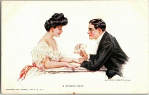 Couple Playing Cards A Winning Hand Artist Howard C Christy Vintage Postcard A04