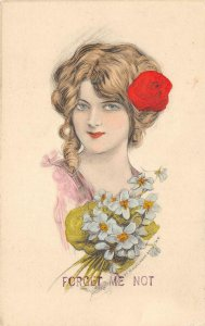 FORGET ME NOT Woman, Flowers Hand-Colored Art c1910s Schlesinger Bros Postcard