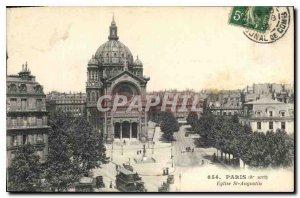 Postcard Old Paris 8 stop Eglise St Augustine