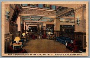 Postcard Houston TX c1938 Ben Milam Hotel Interior Decorated Lobby View Linen