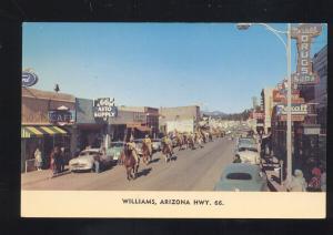 WILLIAMS ARIZONA ROUTE 66 1950's CARS DOWNTOWN STREET SCENE OLD POSTCARD
